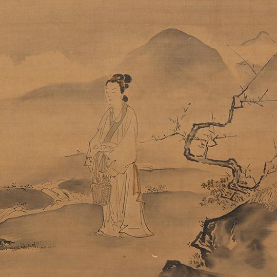 絹本淡彩 霊照女図